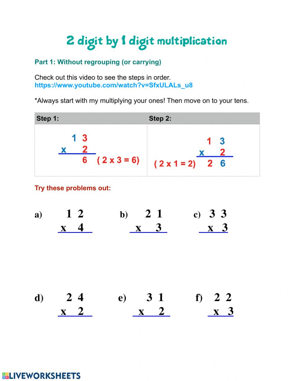 2 by 1 Multiplication Worksheets