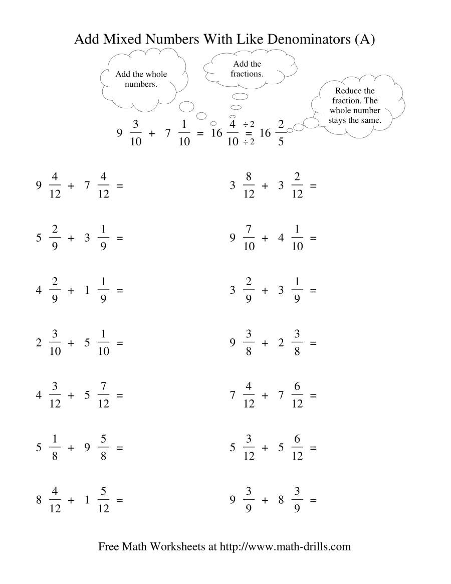 Add Subtract Mixed Numbers Worksheet