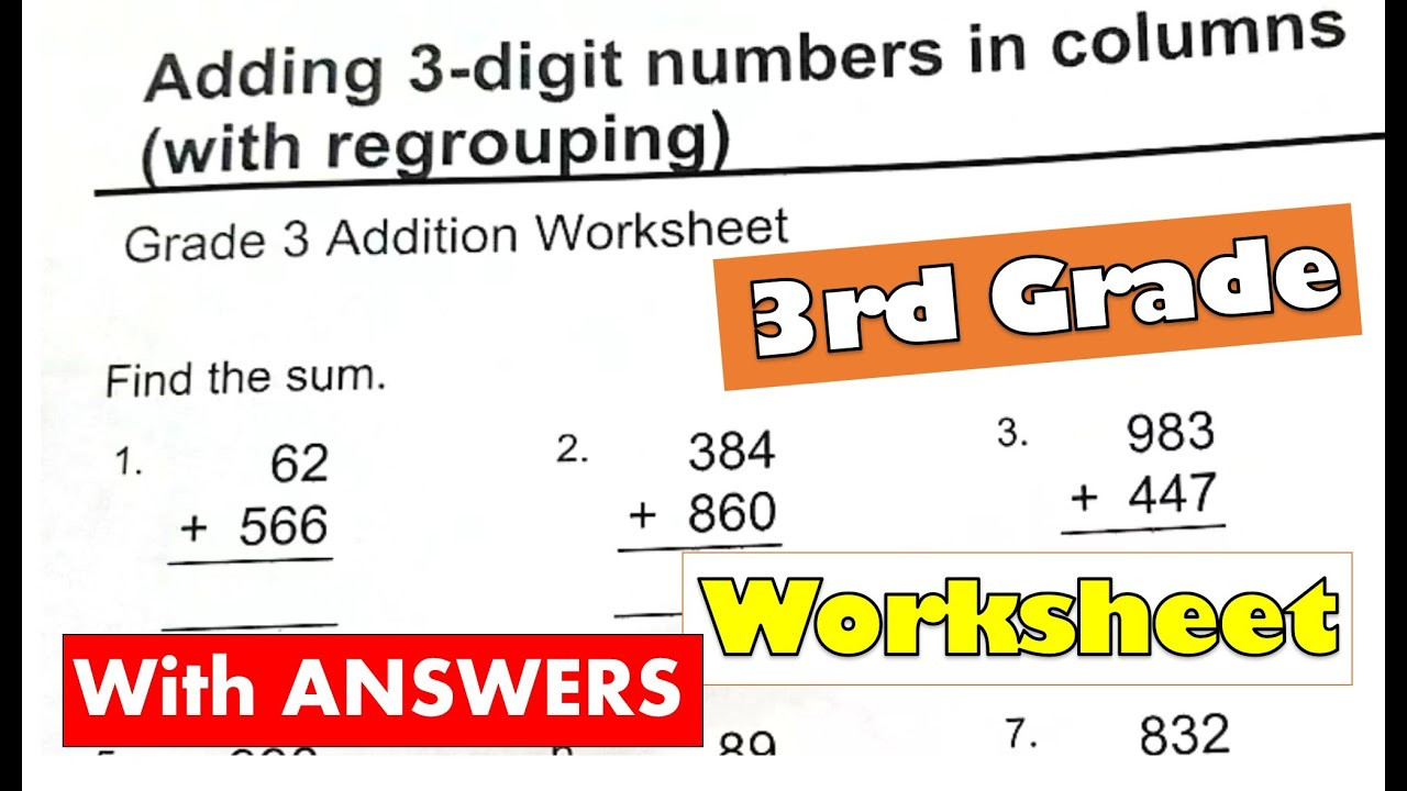 Adding 3 Numbers Worksheets