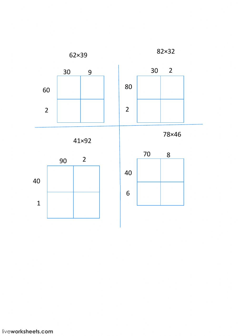 2 digit multiplication with an area model worksheet