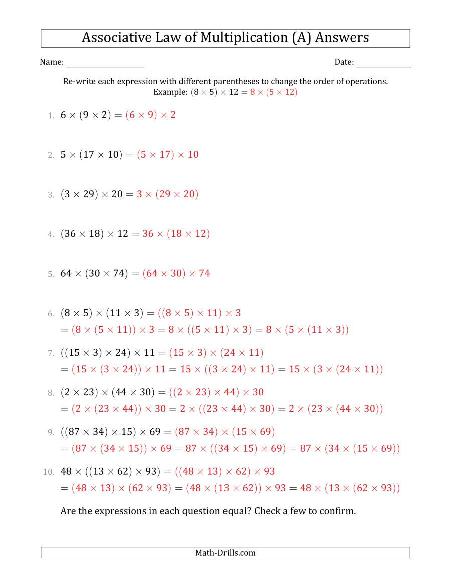 Associative Law of Multiplication Whole Numbers ly A
