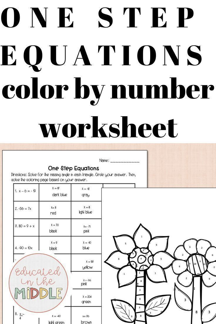 Color by Number Equations Worksheets