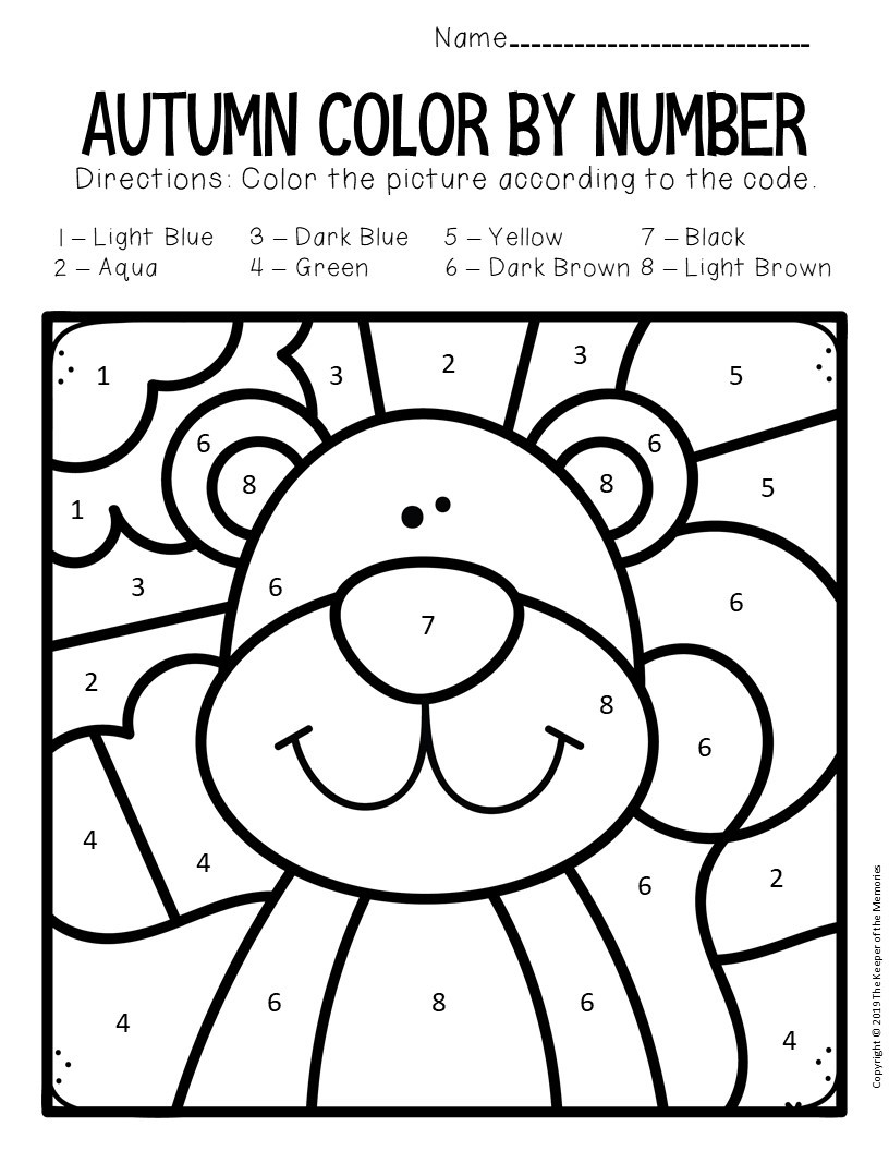 Color by Number Fall Worksheets