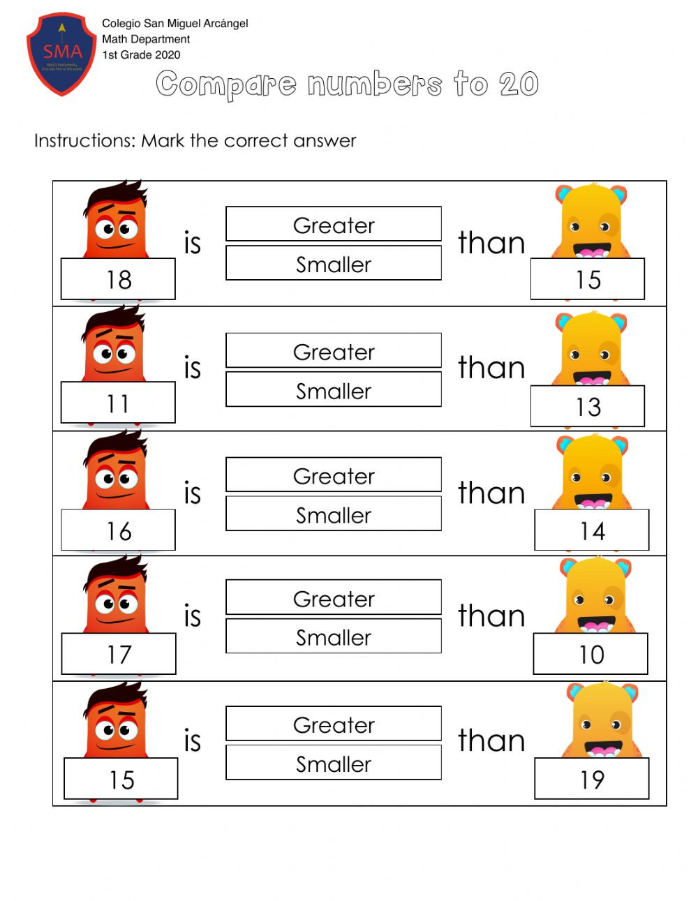 pare numbers to 20 worksheet