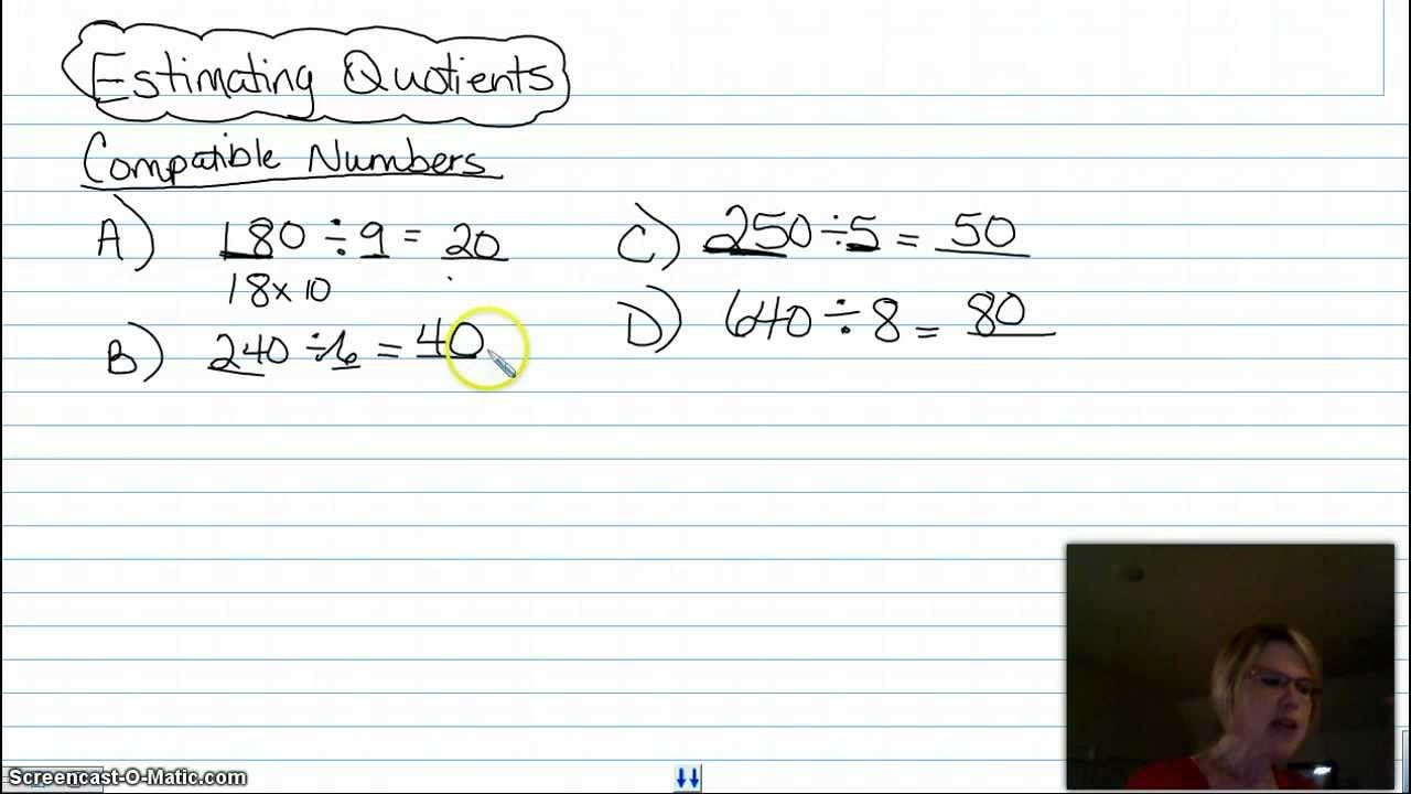 Compatible Numbers Division Worksheet