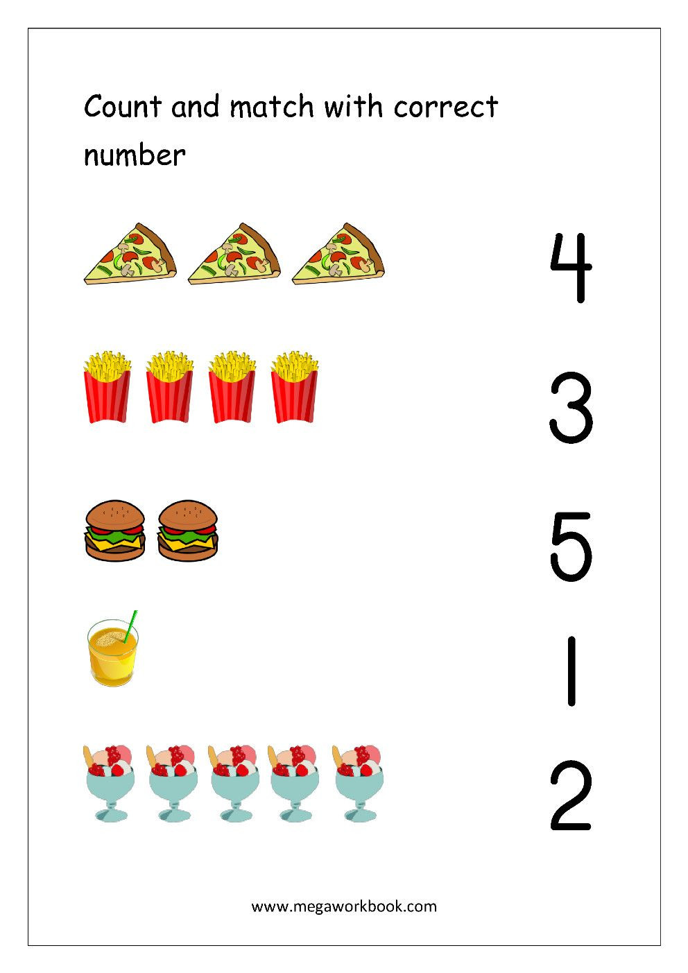 Matching Numbers to Quantities Worksheet