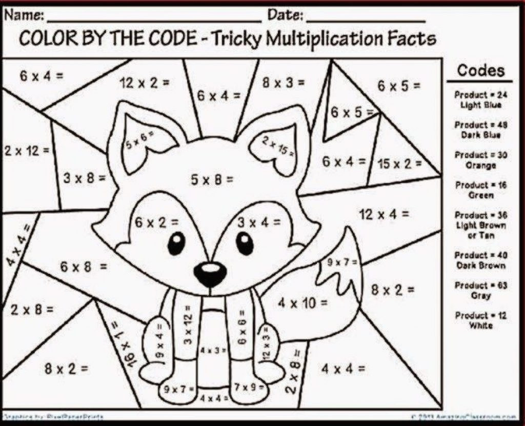 Third Grade Math Coloring Worksheets Multiplication Color By