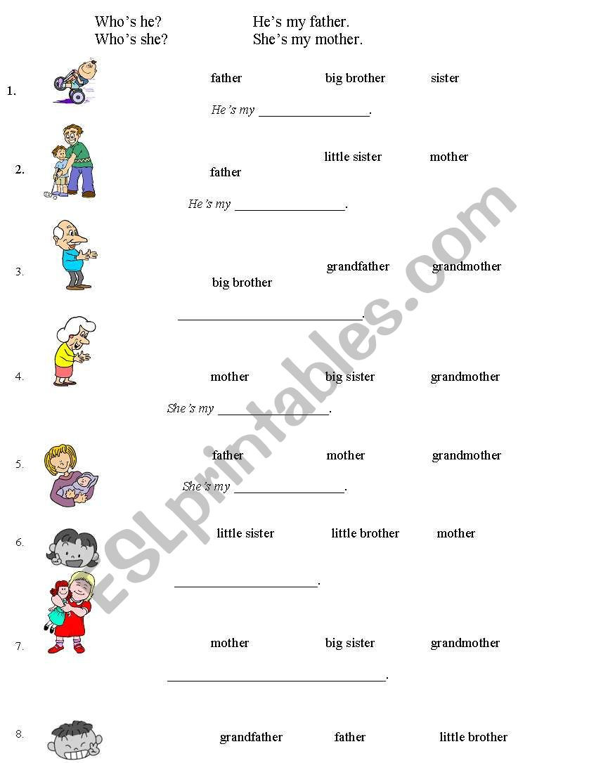 English Worksheets Family Multiple Choice Free Printable