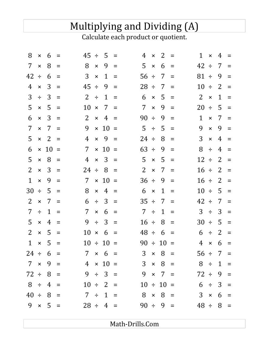 100 Horizontal Multiplication Division Questions Facts 1 to