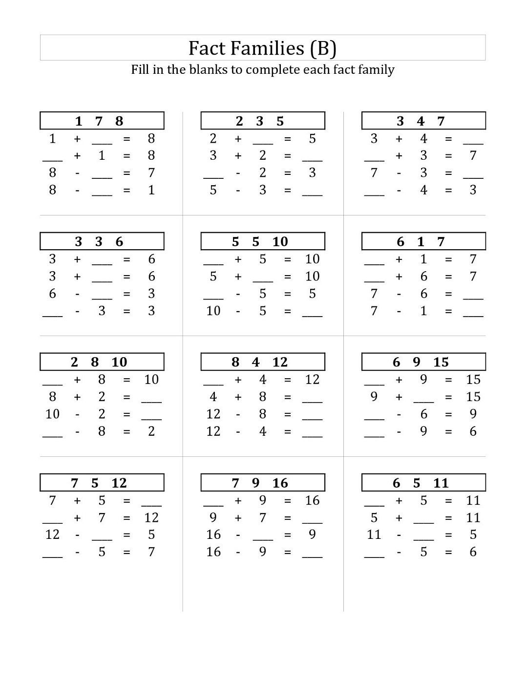 Multiplication Fact Families Worksheets