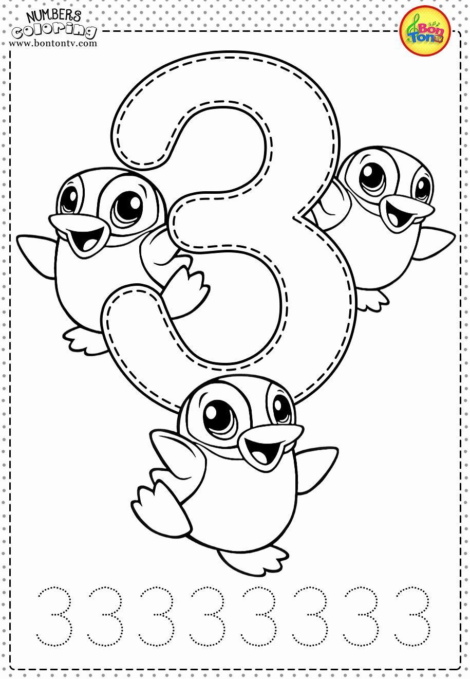 Number Coloring Sheets for Preschoolers Lovely Number 3