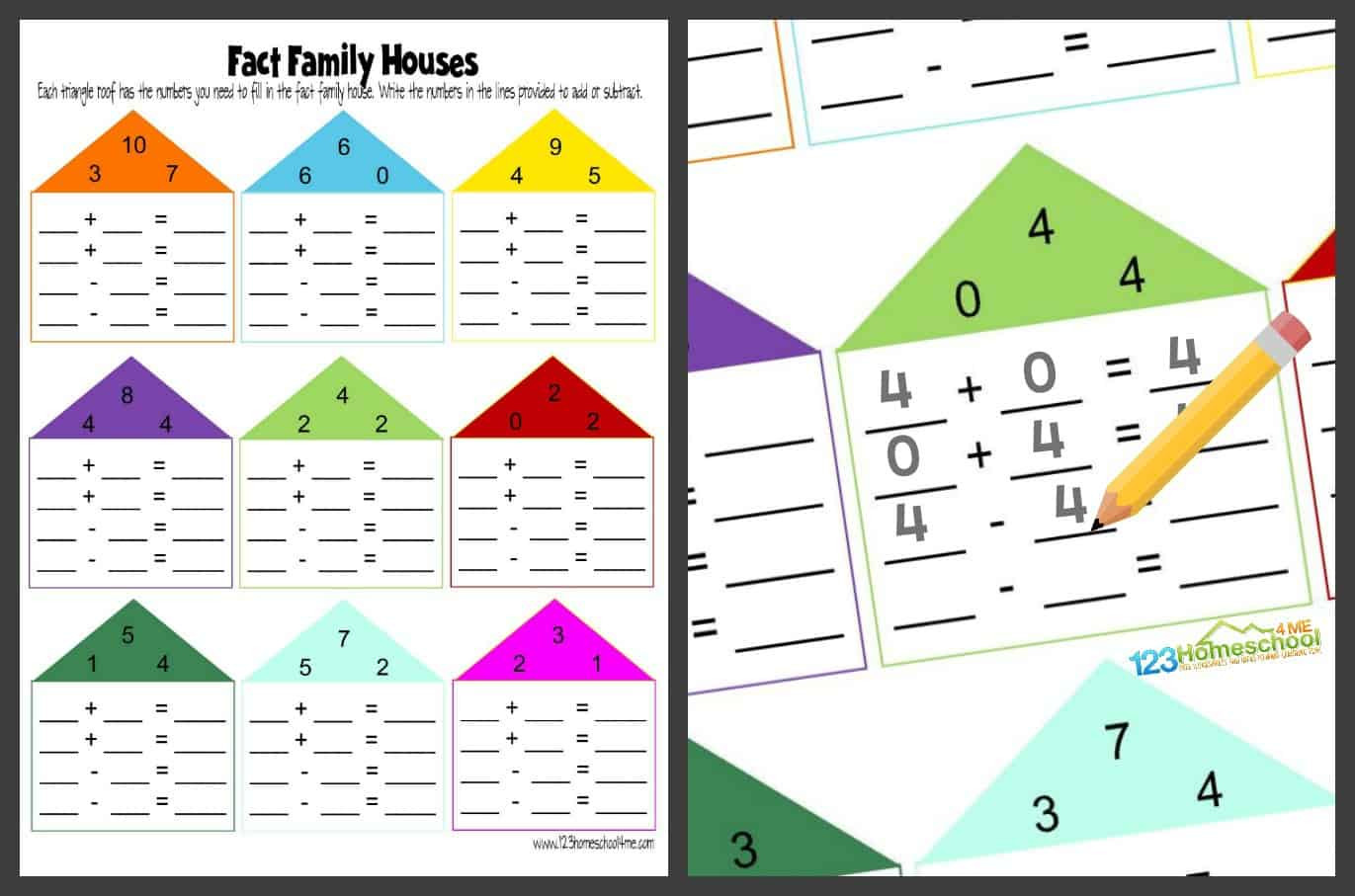 Number Fact Families Worksheets