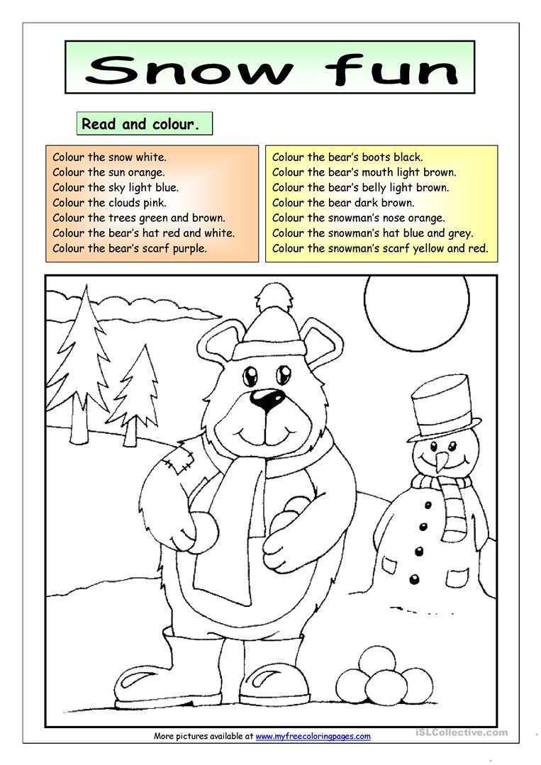 Read and Colour Snow Fun English ESL Worksheets for