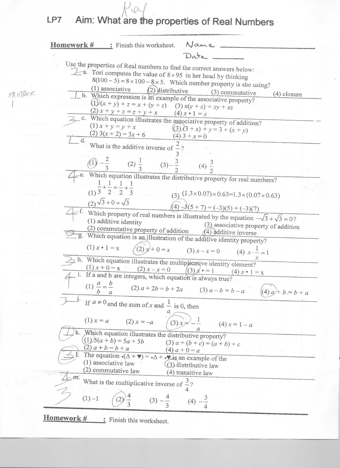 Real Numbers Worksheet with Answers