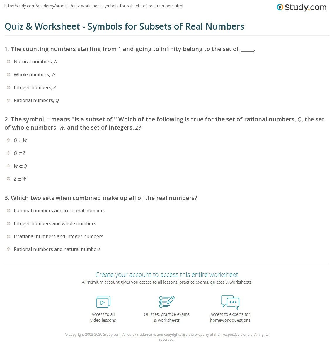 Quiz & Worksheet Symbols for Subsets of Real Numbers