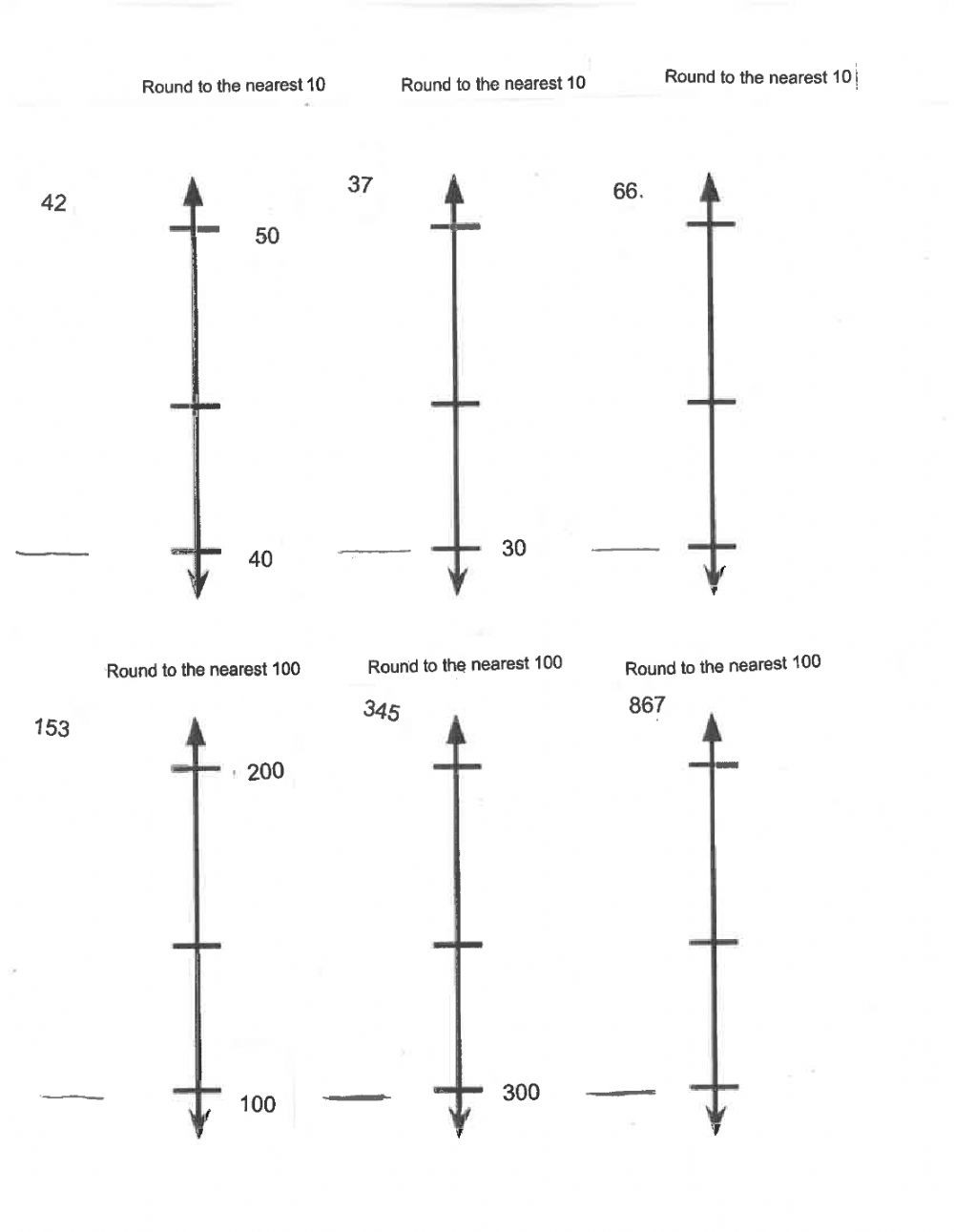 Rounding Numbers Using a Vertical Number Line worksheet