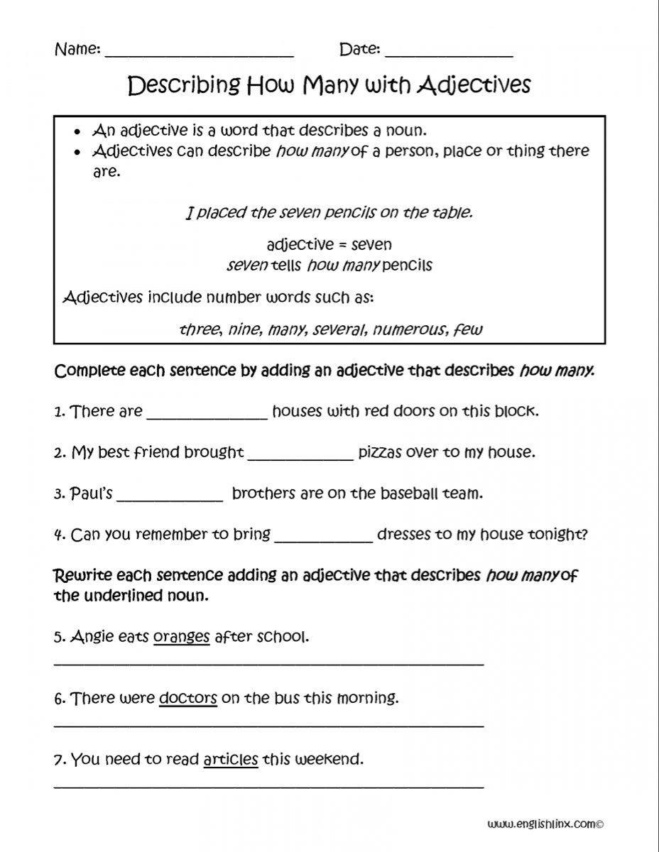 Adjectives and Articles Worksheet