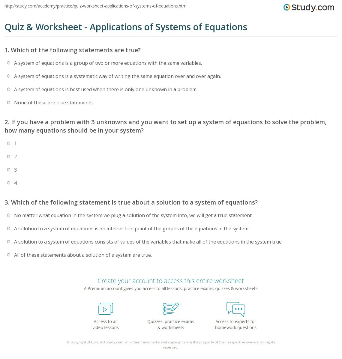 Systems Linear Equations Applications Worksheet