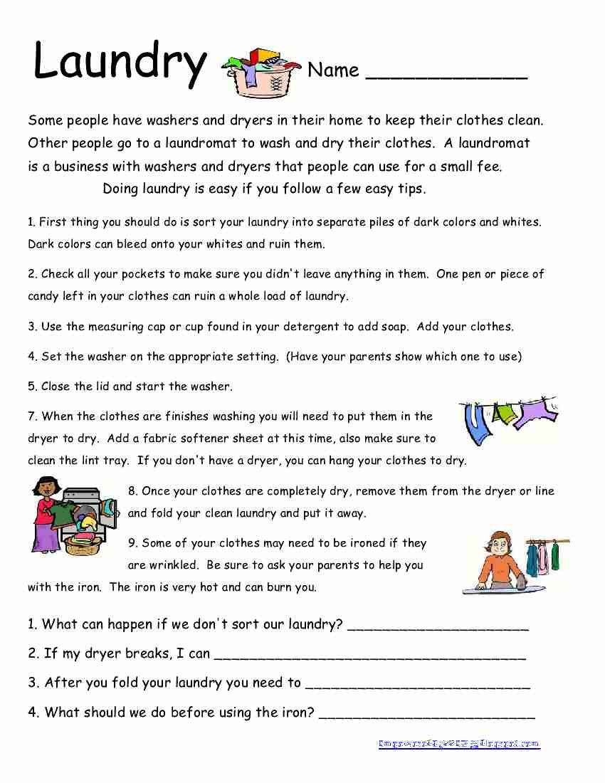 Here is another life skills worksheet I wish all my