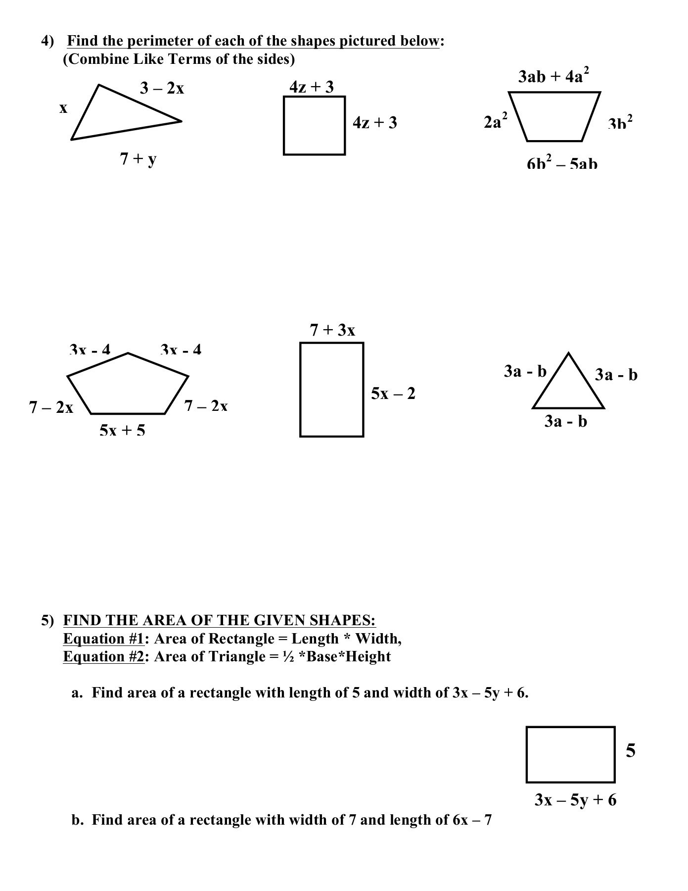 bine Like Terms and Distributive Property Worksheet Pages