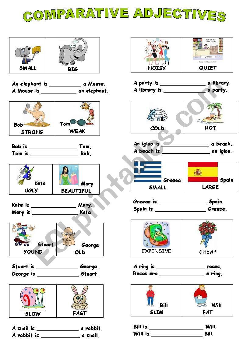 Comparing with Adjectives Worksheets