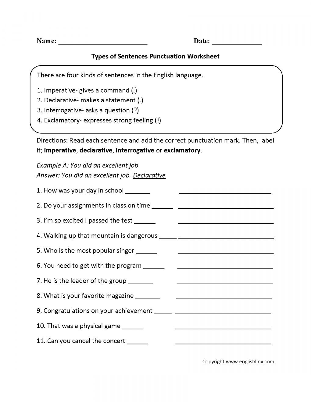17 Worksheets Types Sentences For 5Th Grade in 2020