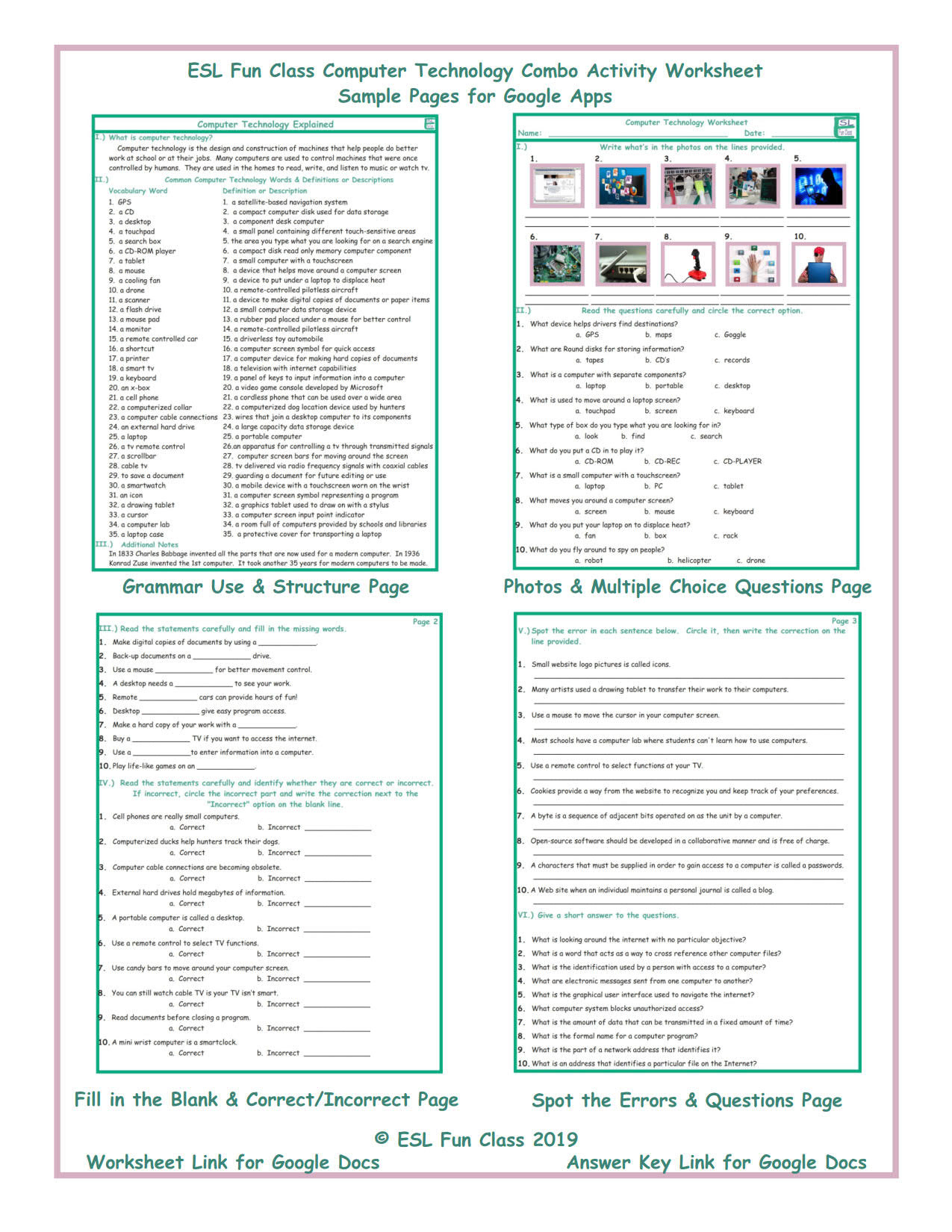 puter Technology Interactive Worksheets for Google Apps