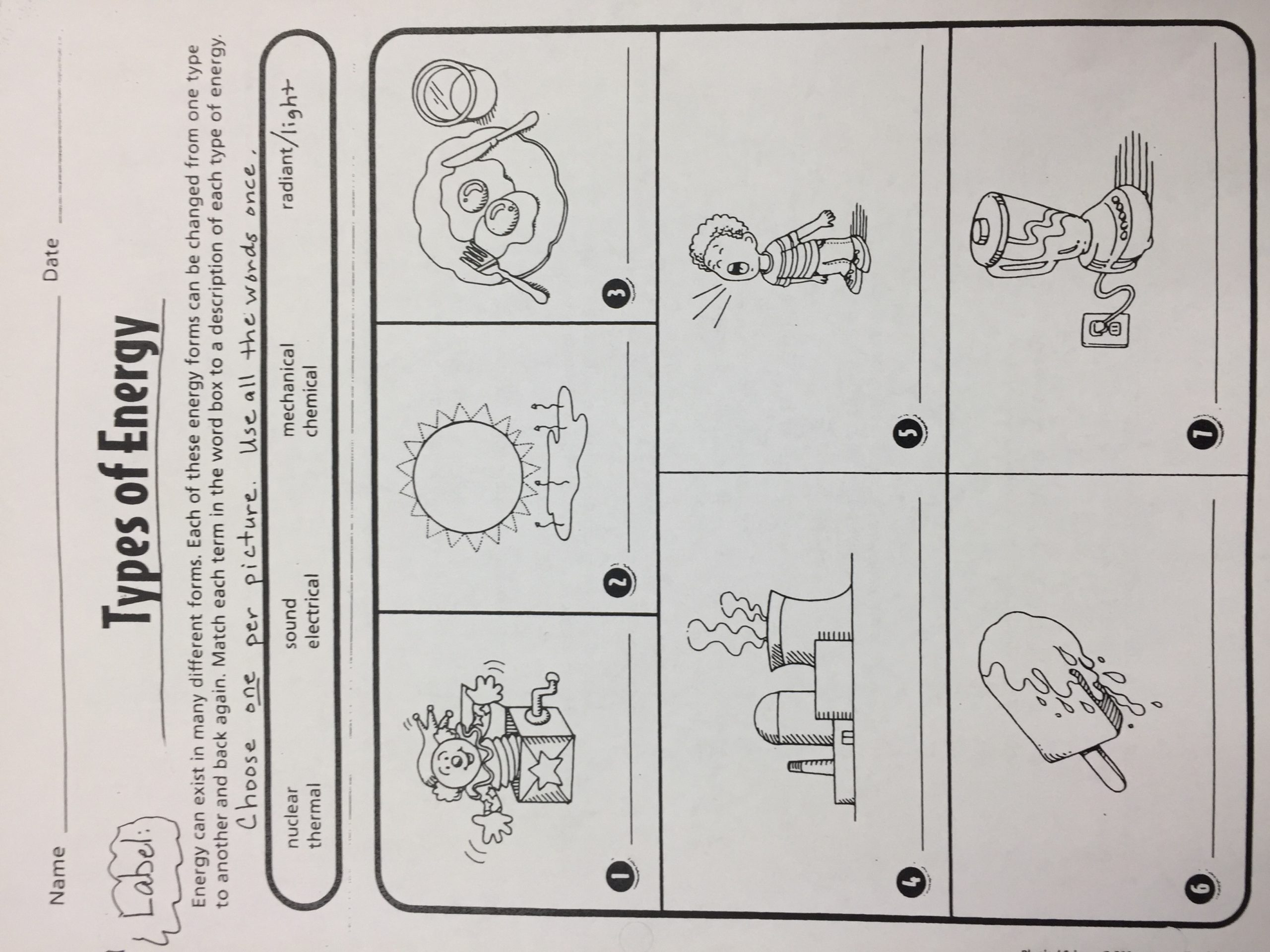 Different forms Of Energy Worksheet