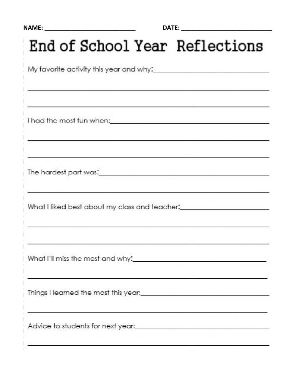 End of Year School Reflection worksheet