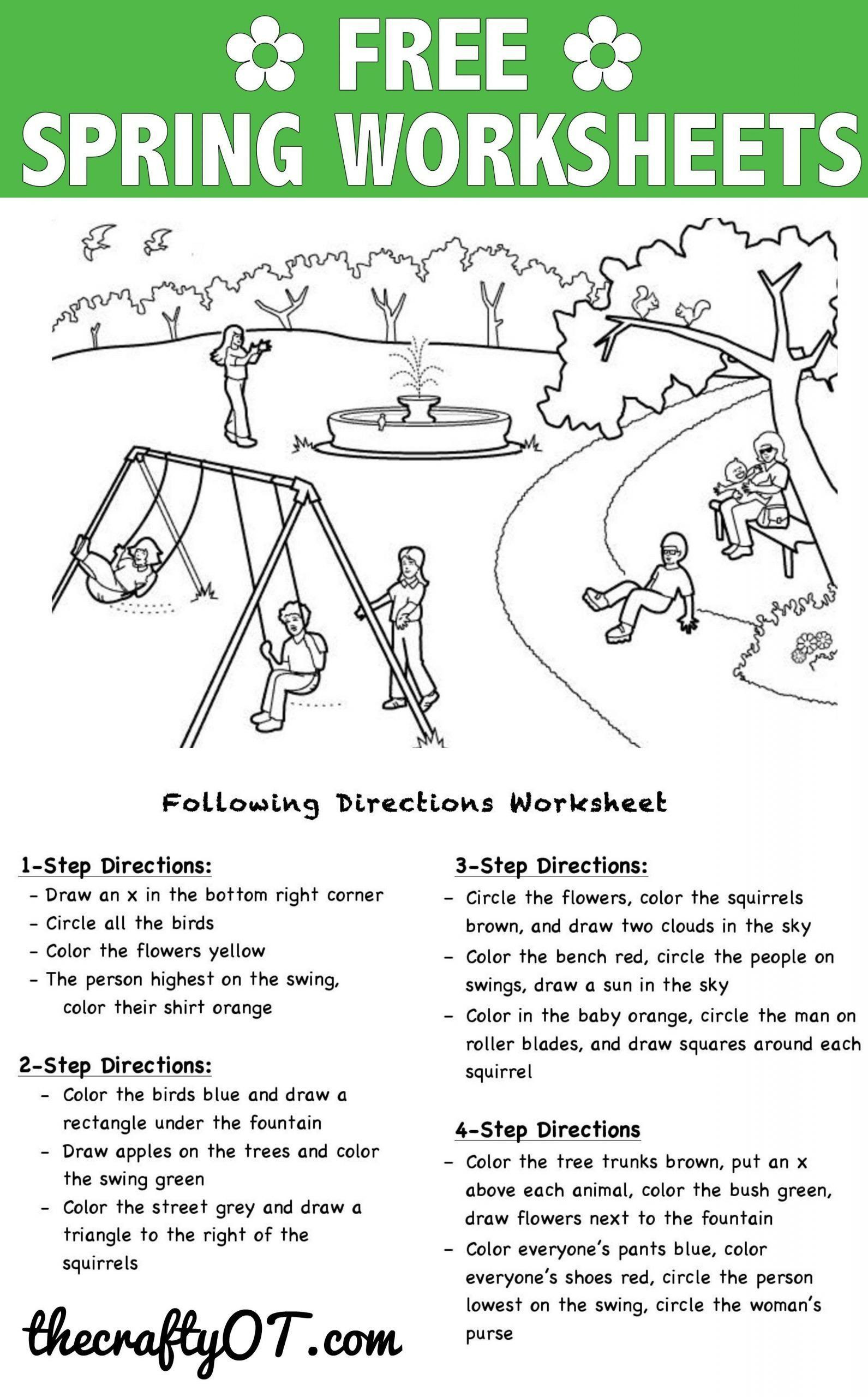 Following Directions Worksheets for Kindergarten Pin