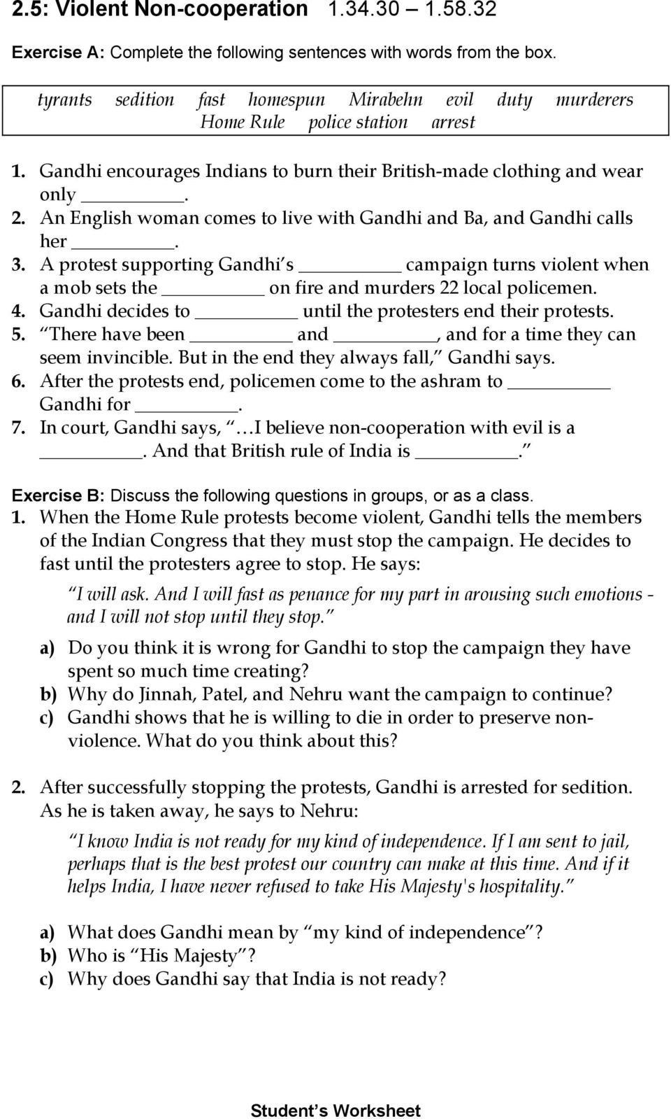Gandhi Movie Worksheet Answer Key Prehension and Discussion