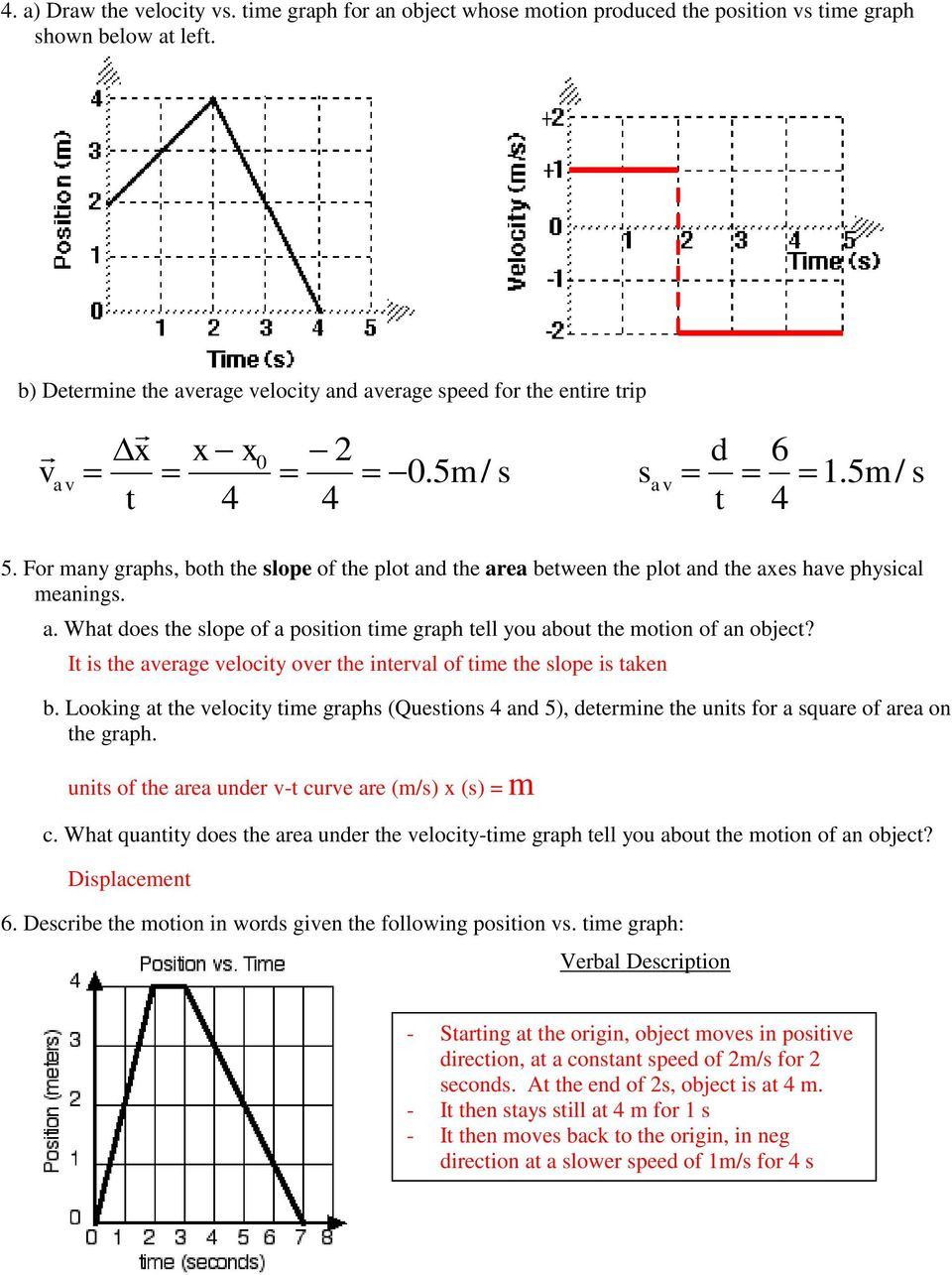31 Position Vs Time And Velocity Vs Time Graphs Worksheet