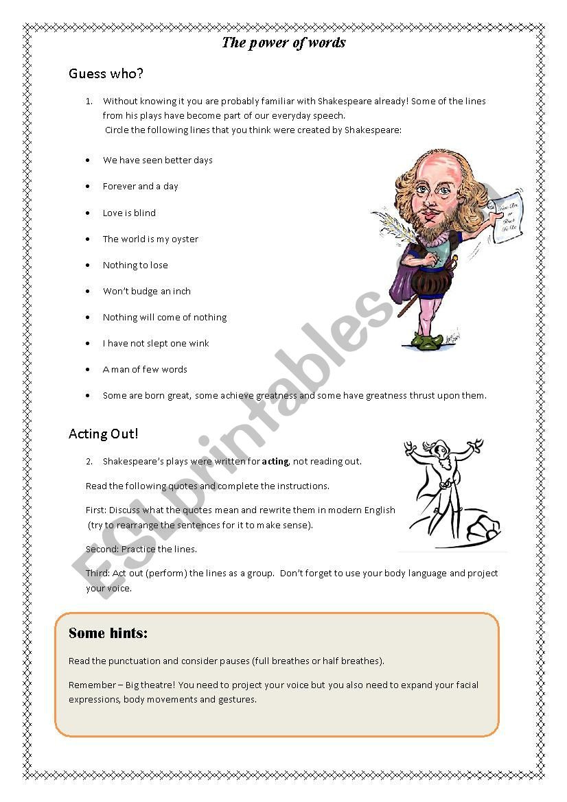 Introduction to Shakespeare ESL worksheet by Angela88