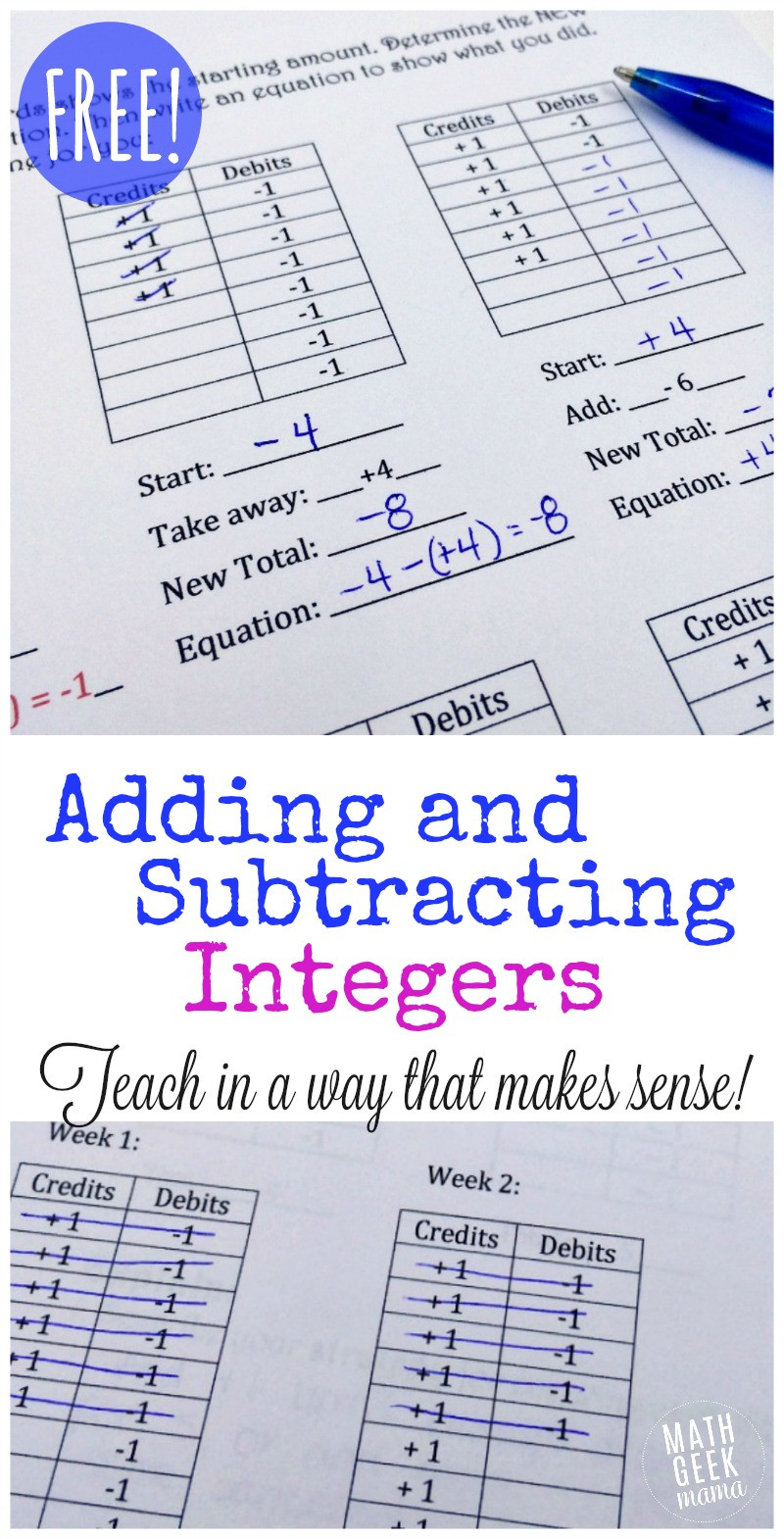 Introduction to Integers Worksheet