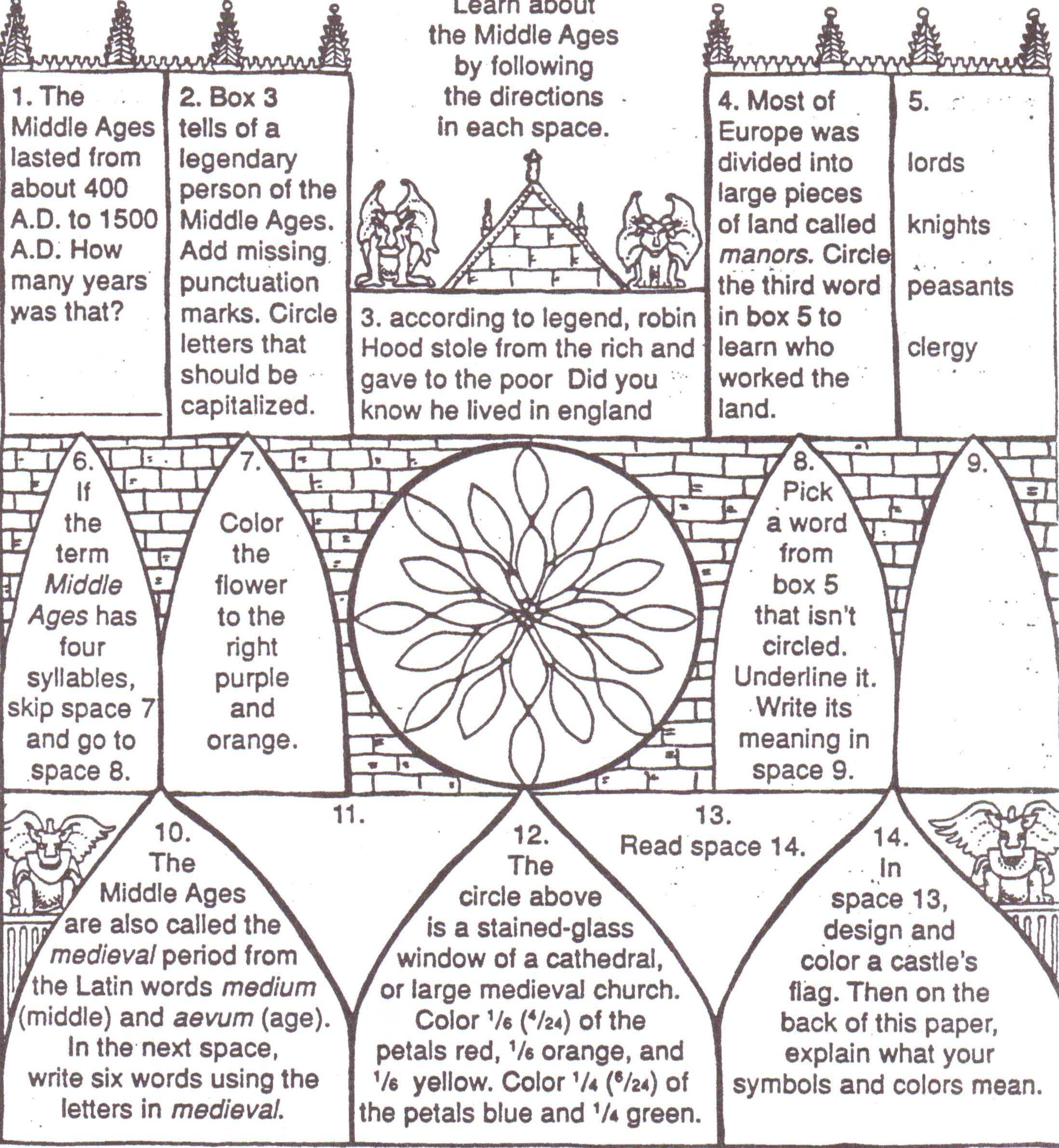 Middle Ages For Kids Worksheets The Middle Ages Middle Ages
