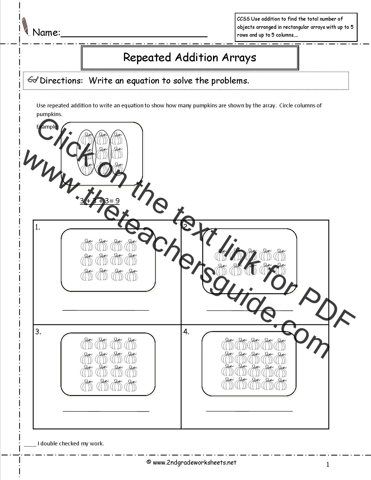 Multiplication with Repeated Addition Worksheets