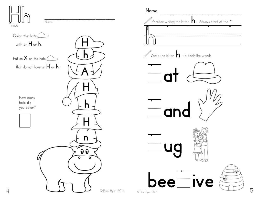 Letter H worksheet Learning My Letters Booklet by Pam Hyer