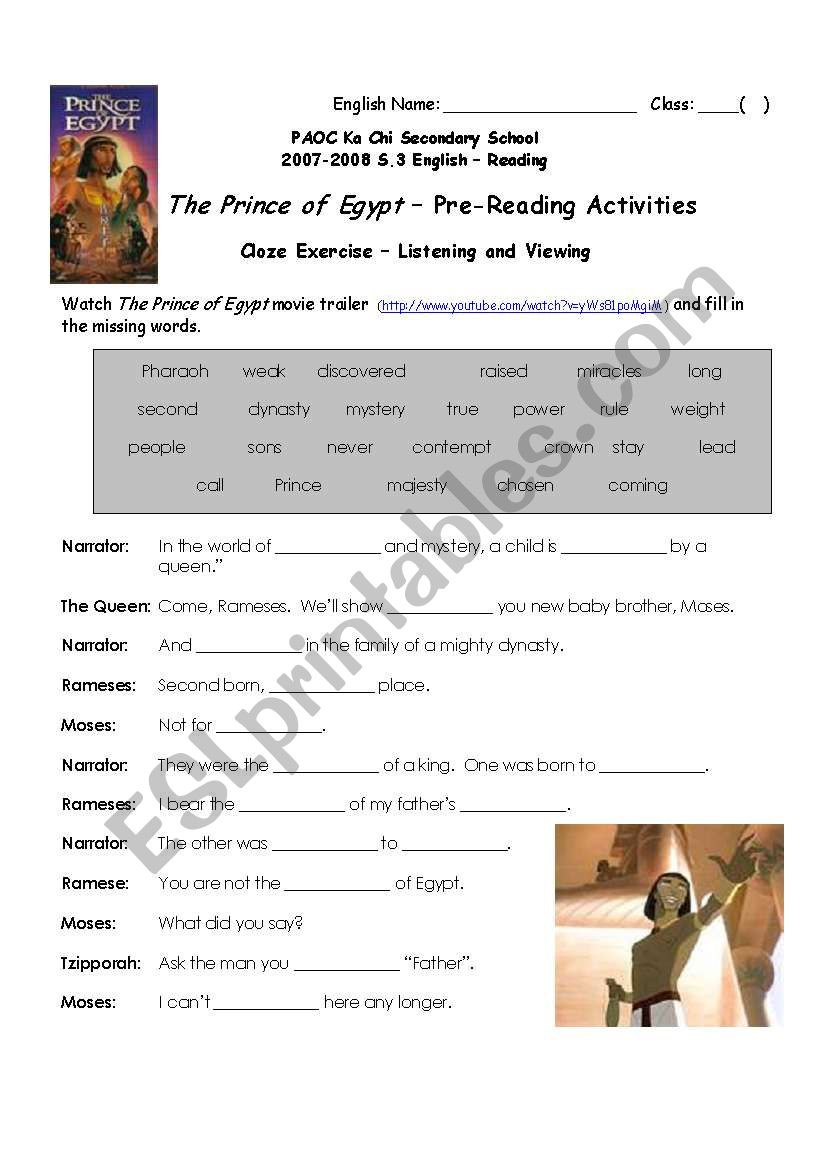The Prince of Egypt Cloze Exercise ESL worksheet by