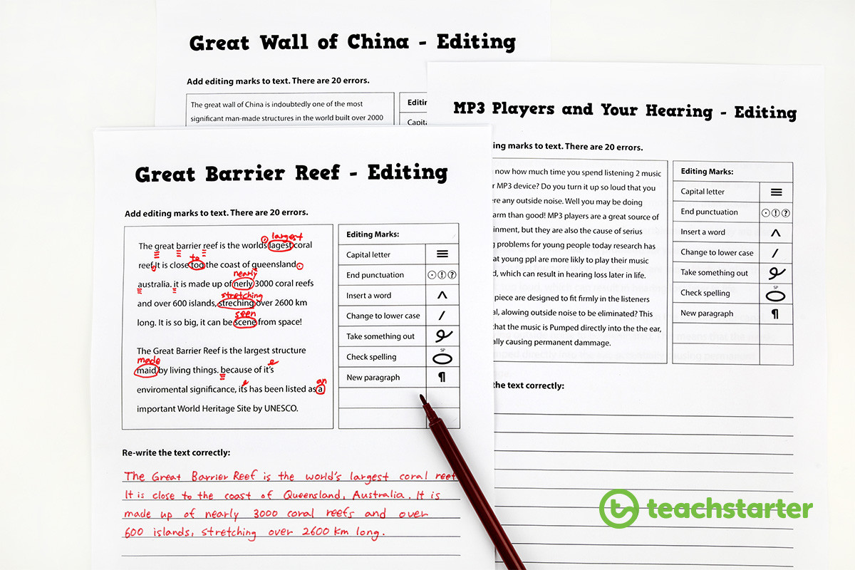Proofreading and Editing Worksheet