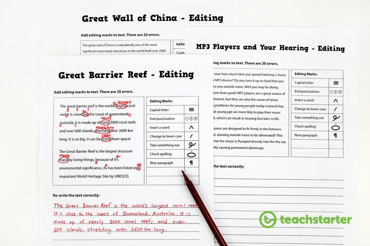 Proofreading and Editing Worksheets