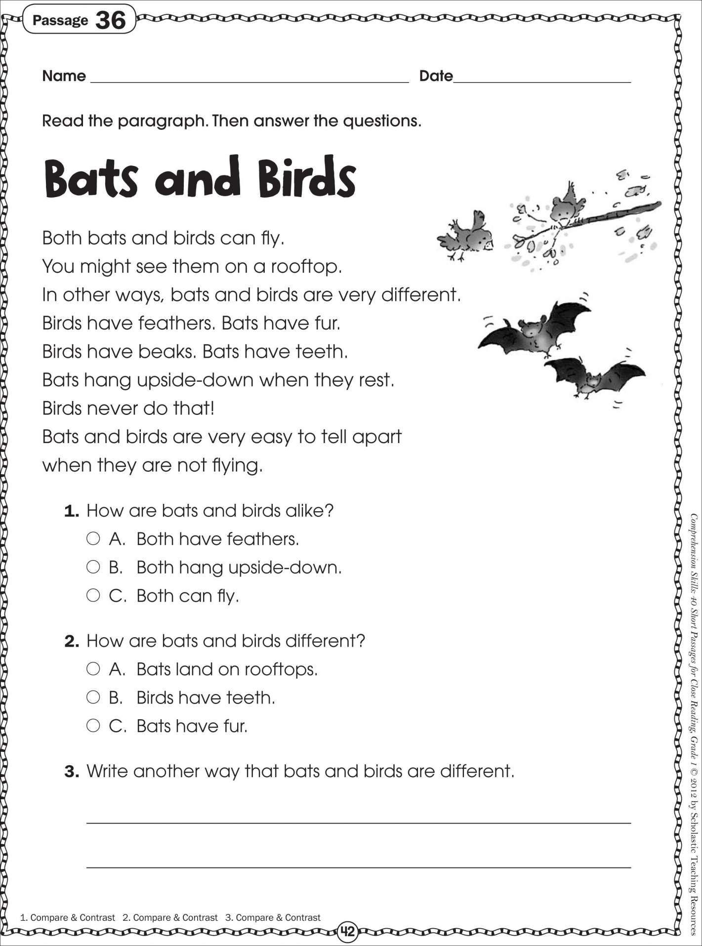 Reading Worksheets for First Grade