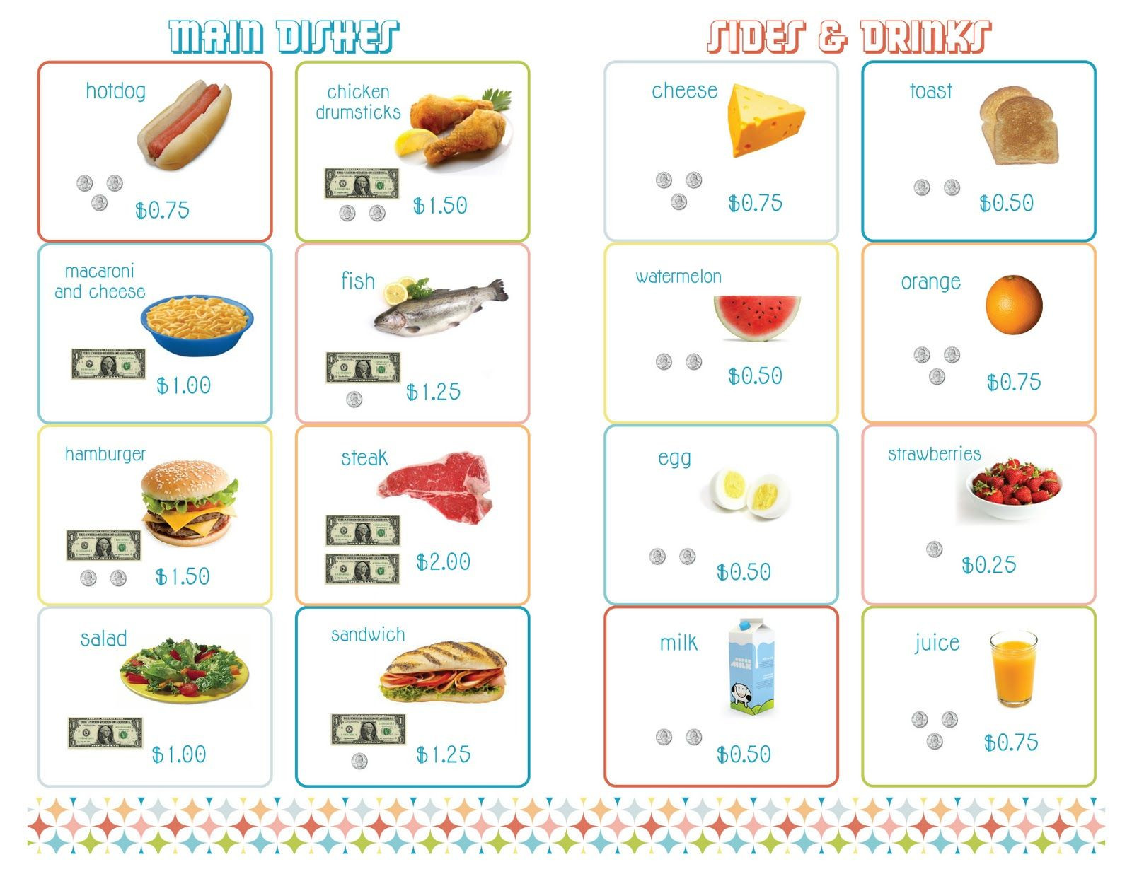 Delightful Distractions PRINTABLE Menus for Playing