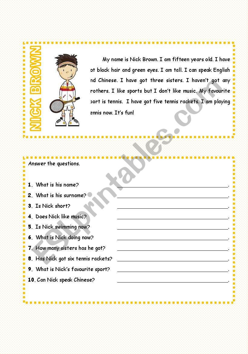 Special Education Reading Comprehension Worksheets