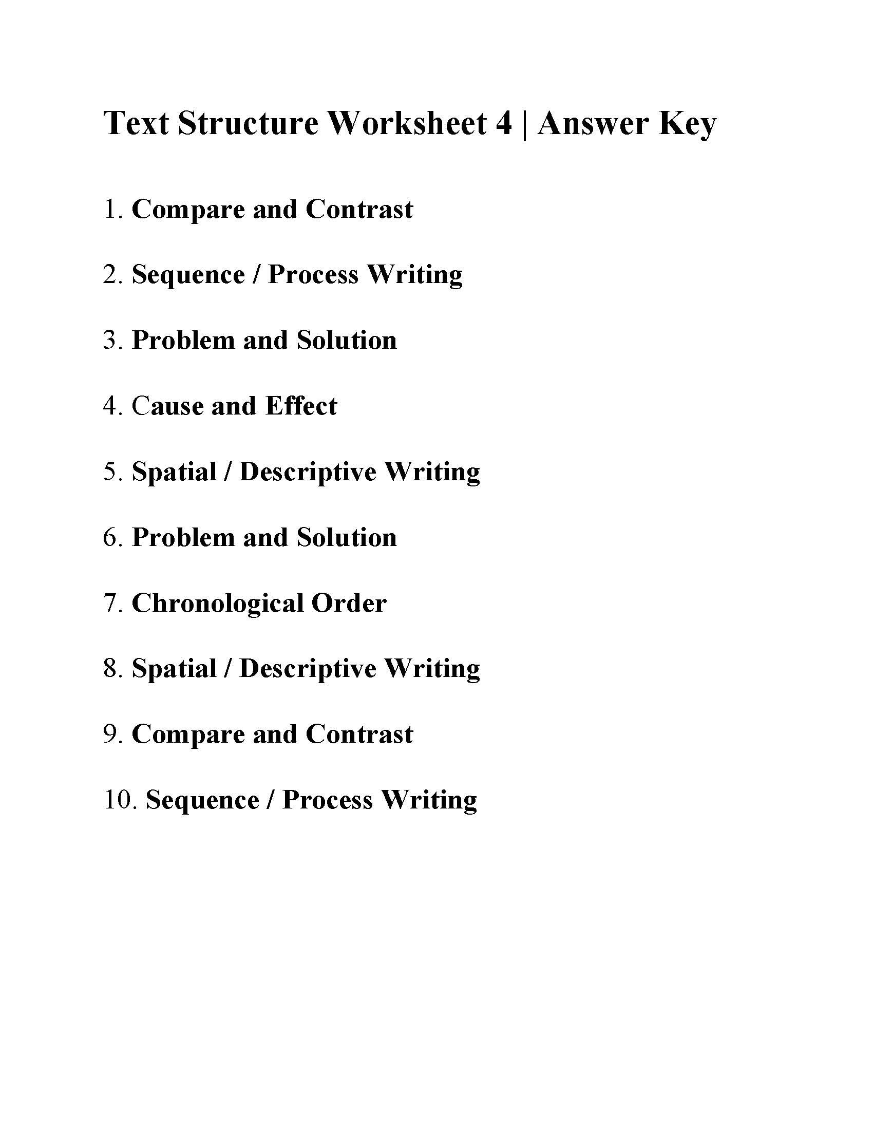 Text Structure Worksheet 4