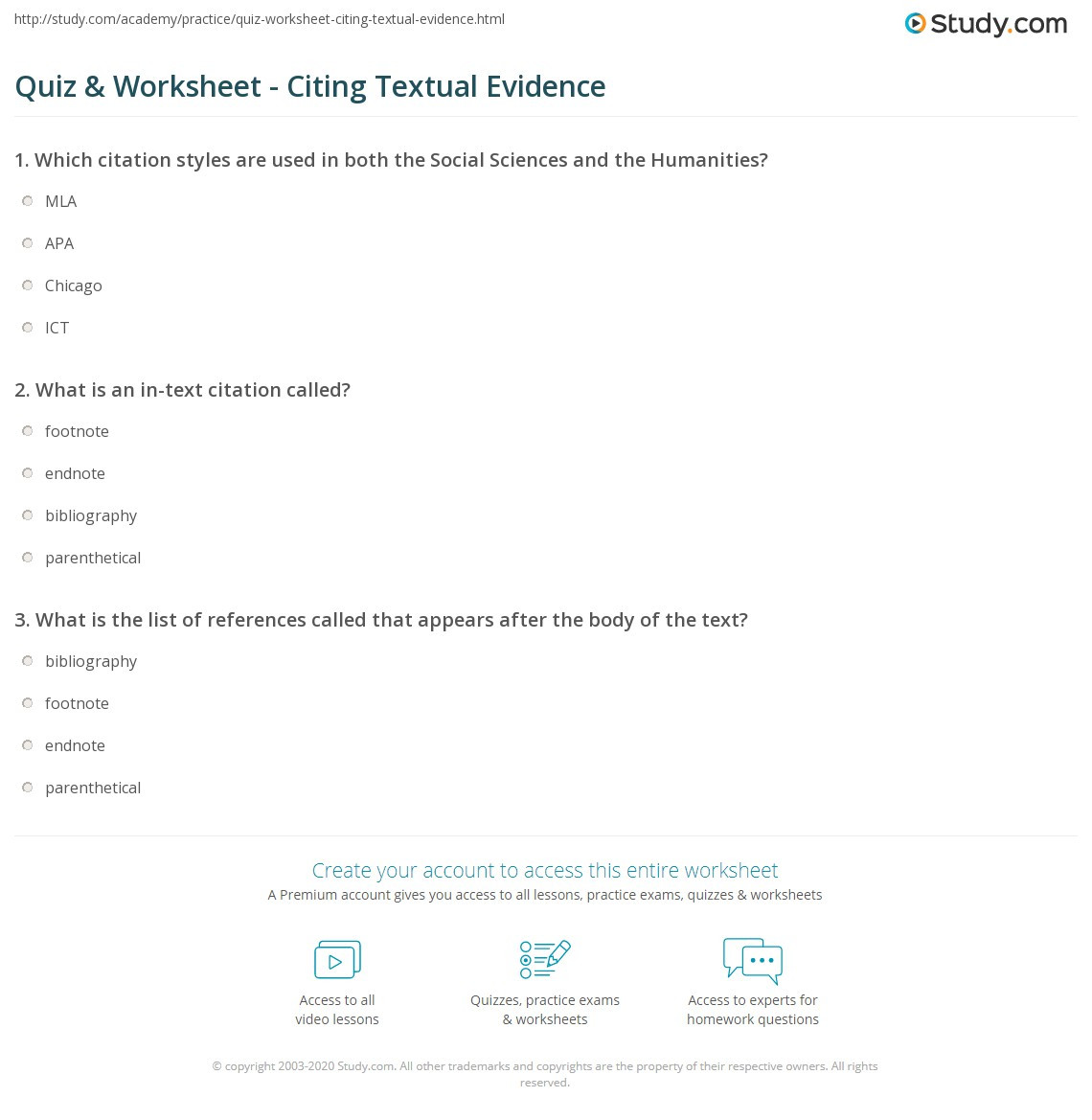 Textual Evidence Worksheet Middle School