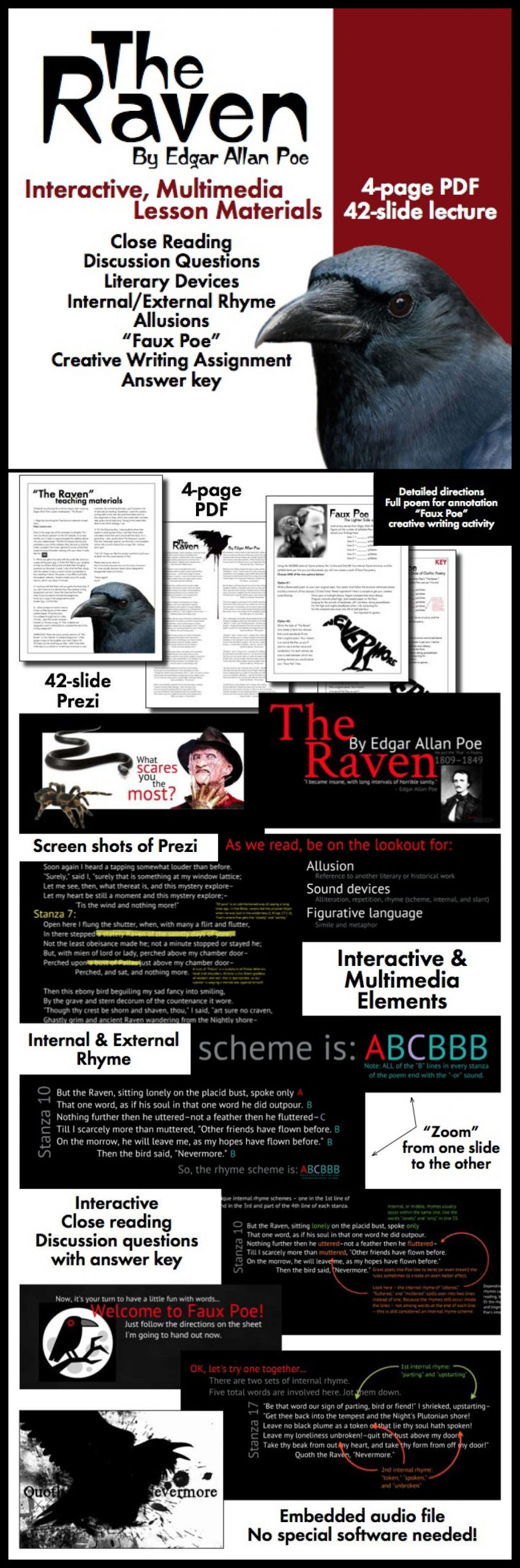The Raven Literary Devices Worksheet
