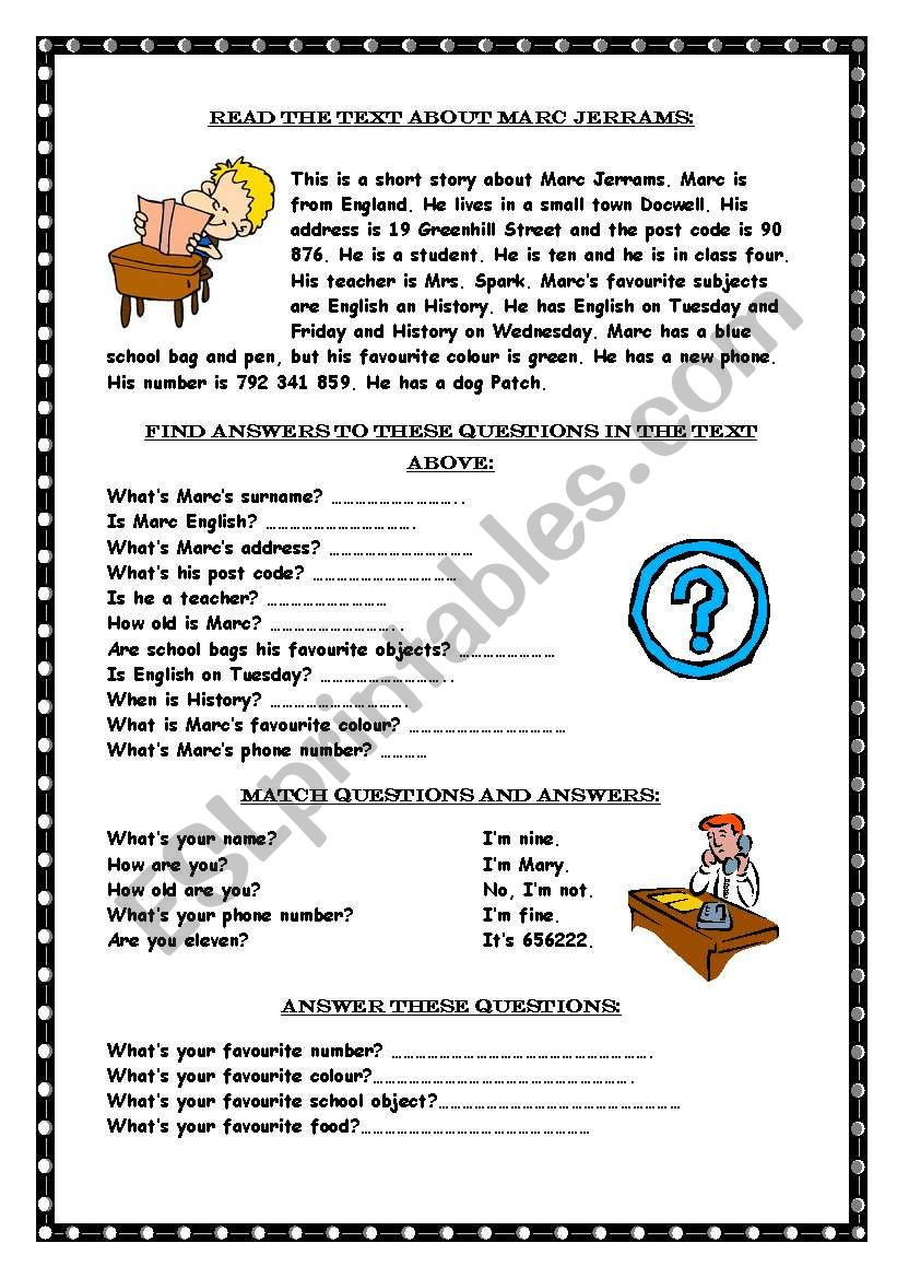 Reading prehension Wh questions ESL worksheet by Marywell
