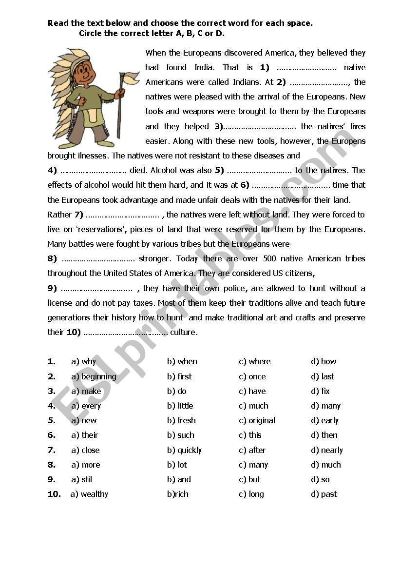 When the Europeans discovered America ESL worksheet by