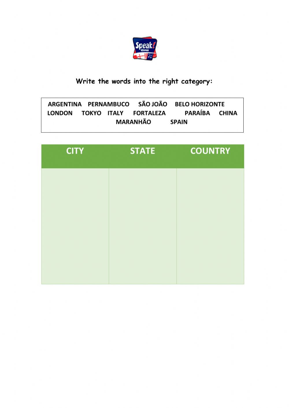 City state country worksheet
