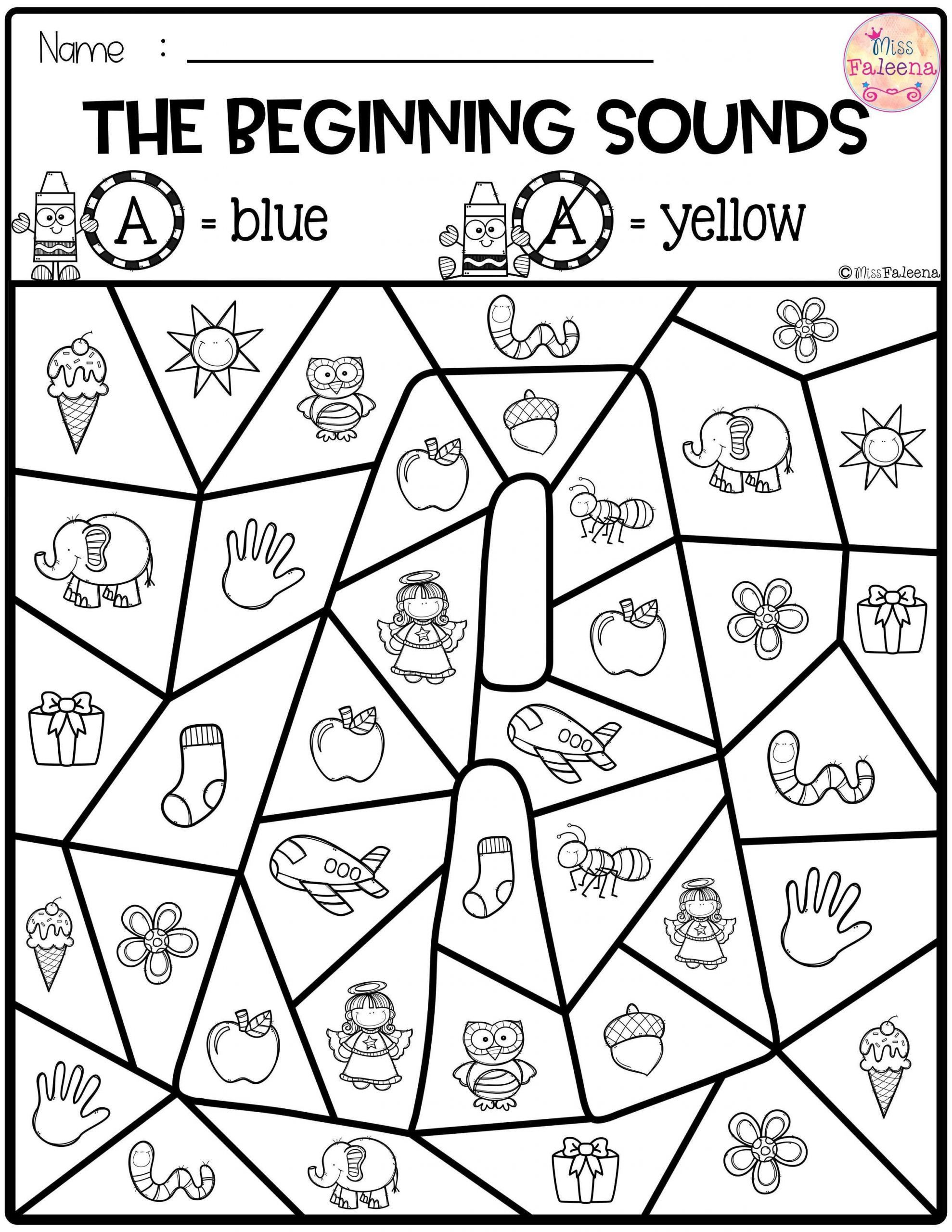 Worksheet Phonemic Awareness Initial Sounds Free Color By
